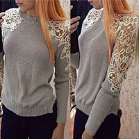 Stylish Lace Patchwork Knit Tops Sweater [9143467012]