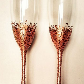 Bronze wedding flutes, personalized glasses bride and groom toasting flutes champagne glasses personalized flutes wedding supplies, set of 2