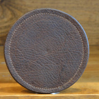 Leather Coaster --  Stone Oiled Leather with burned on Michigan