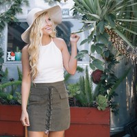 Kick Start Suede Mini Skirt in Olive