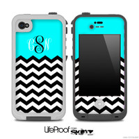 Custom Monogram turquoise Black White Chevron Pattern Skin for the iPhone 4/4s or 5 LifeProof Case