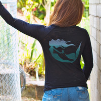 Wings Hawaii Mermaid Long Sleeve Burnout Black