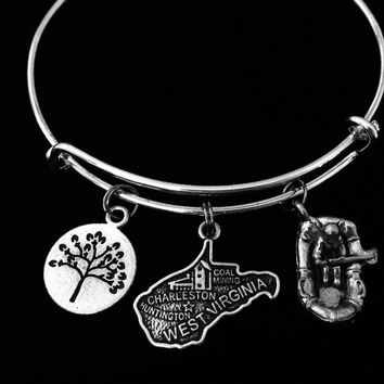 West Virginia Charm Bracelet White Water Rafting Jewelry Expandable Adjustable Silver Charm Bracelet Wire Bangle One Size Fits All Gift State Jewelry