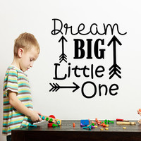 Dream Big Little One Wall Decals Quote Arrow Decal Kids Nursery Vinyl Stickers Home Bedroom Decor  T29