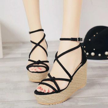 Design Summer Korean Stylish Wedge High Heel Fine Strap Cross Strap Sandals [11192814151]