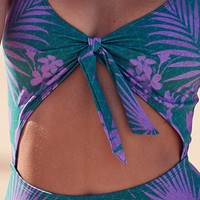 Out From Under Printed Tie-Front One-Piece Swimsuit | Urban Outfitters
