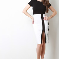 Minimalist Color Block Midi Dress