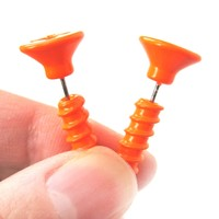 Fake Gauge Earrings: Realistic Screw Shaped Faux Plug Stud Earrings in Bright Orange