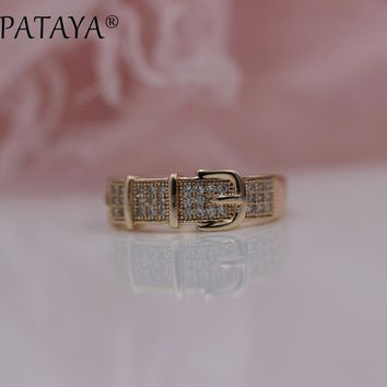 PATAYA New Arrivals 585 Rose Gold Unique Leather Belt Buckle Women Trendy Wedding Jewelry White Round Natural Zirconia Rings
