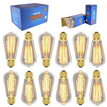 12 Pack Vintage Edison Light Bulbs, 7 Squirrel Cage Filament Bulbs , 5 Spiral Filament Bulbs, 60W, ST64, E26, Dimmable,Clear Glass, Industrial Vintage Bulbs