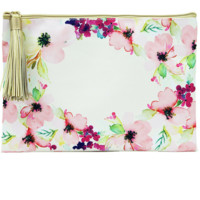 Pink Floral | Canvas Makeup Bag