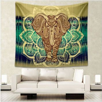 Indian Elephant Tapestry Aubusson Colored Printed Decor Mandala Tapestry Religious Boho Wall Carpet Room Blankets Free Shipping