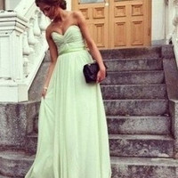 Custom made mint green chiffon prom dress floor length long bridesmaid dress