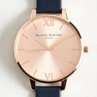 Luxe Undisputed Class Watch in Navy Rose Gold - Big by Olivia Burton from ModCloth