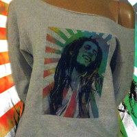 Bob Marley Sunburst Watercolor Off The Shoulder Sweatshirt