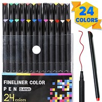 PuTwo Colored Pens,Fine Tip Markers, Planner Accessories, Journaling Supplies, Fineliner Pens for Journaling, Drawing, Coloring, Scrapbooking (24 Colors)