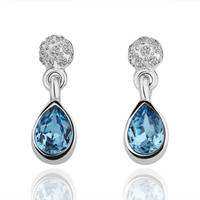 Blue Swarovski Crystal White Gold Plated Earring