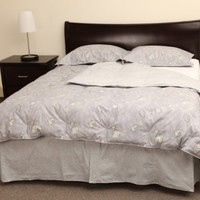 Rio Home Fashions 233 Thread Count 100-Percent Cotton 4-Piece King White Duck Down Comforter Sets, Spring Petals Gray