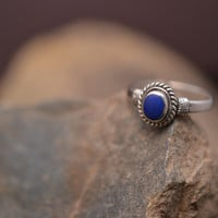 Sterling Silver and Lapis Oval Ring