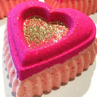 Heart of Gold Bath Bomb; Valentine's Day Gift; LARGE Heart bath bomb; Valentine Bath Bomb; Foaming Bath Bomb; Valentine's Day Gift