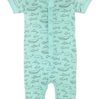 Henley Romper Big Fish on Aqua by Feather Baby