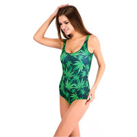 Leaf Print One Piece Swimsuit