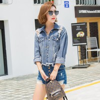 new arrived autumn Spring Coat Jackets woman denim Fashion long sleeves Slim Hole Pattern Single Breasted upper outer garment