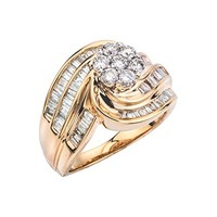 18k Yellow Gold-Plated Sterling Silver Round Cut Three-Stone Cubic Zirconia Ring (0.96 cttw), Size 7