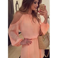 Pink Fashion Elastic Waist Mini Chiffon Cold Shoulder Dress with Long Sleeve