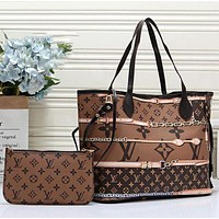 Louis Vuitton LV Women Leather Tote Handbag Shoulder Bag Purse Wallet Set Two-Piece Dark Brown