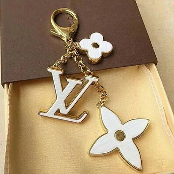 LV Classic Popular Women Cute Letter Key Ring Bag Accessories Jewelry White I12694-1
