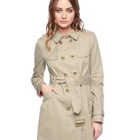 Golden Caramel Cotton Twill Trench Coat by Juicy Couture,