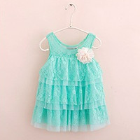 Girls Kids Dresses One Piece Big Flower Lace Layers Toddlers Babys Strap Dresses HT UBY