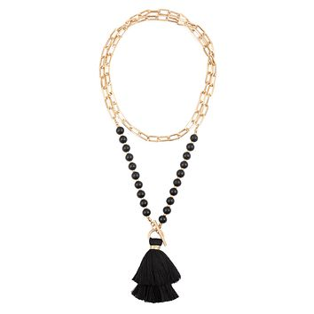 MYN1302 - COTTON TASSEL CHAIN BEADED NECKLACE