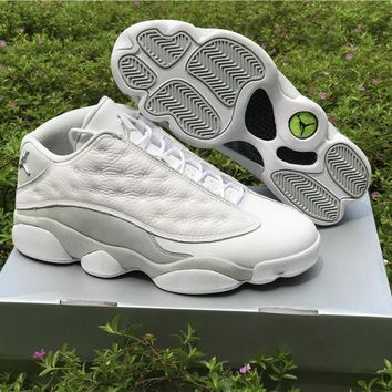 Air Jordan Retro 13 Low Pure Money Men Basketball Shoes 13s Low White Grey Athletics Sneakers High Quality With Shoes Box