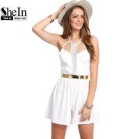SheIn Jumpsuit For Ladies Sexy White Spaghetti Strap Playsuits Womens Summer Sleeveless Lace Hollow Casual Romper