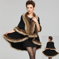 Good Quality Fashion Occident Style Cashmere Raccoon Fur Coat Women Long Faux Fur Shawl Cloak Knitted Sweater Cardigan
