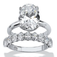 6.91 TCW Oval-Cut Cubic Zirconia Platinum over Sterling Silver Wedding Band Set