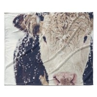 "Debbra Obertanec ""Snowy Cow"" Black White Fleece Throw Blanket"