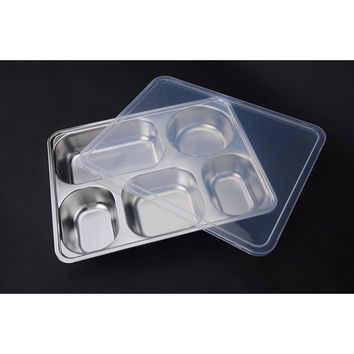 Deepen thick stainless steel plate snack square stainless steel sub-grid covered five grid fourfold rice dish lunch boxes free shipping  5 Grid + Plastic lid