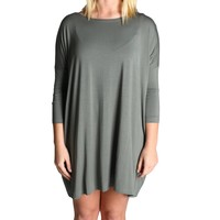 Olive Piko Tunic 3/4 Sleeve Dress