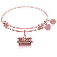 Expandable Bangle in Pink Tone Brass with Central Perk Couch Symbol