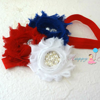 4th of July Trio Shabby Cluster headband / Baby girl 4th of July Headband