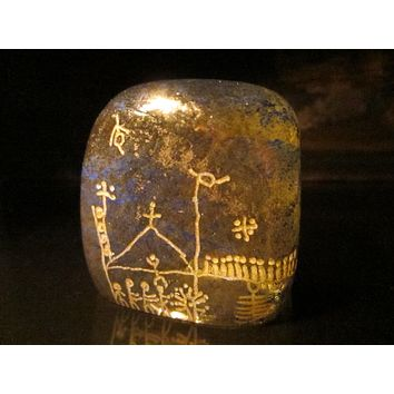 Abstract Folk Aztec Style Textured Glass Paperweight