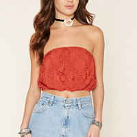 Embroidered Strapless Top