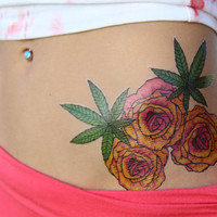 Yellow & Pink Roses and Hemp Leaves Hand Drawn Large Temporary Tattoo