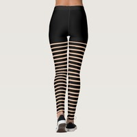Black Stripes Pattern Cut Out Look Leggings
