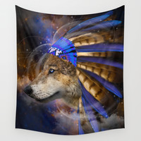 Fight For What You Love (Chief of Dreams: Wolf) Tribe Series Wall Tapestry by Soaring Anchor Designs