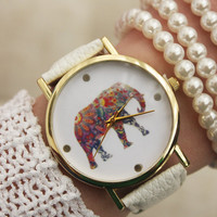 Personal gift card note for friends thank you note unisex watch gift wrapped fashion elephant girl watch