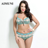 2017 women plus size swimwear Bathing Suit Push up Bikini set Brazilian Women high waist Swimwear plus size print Swimsuit xxxl